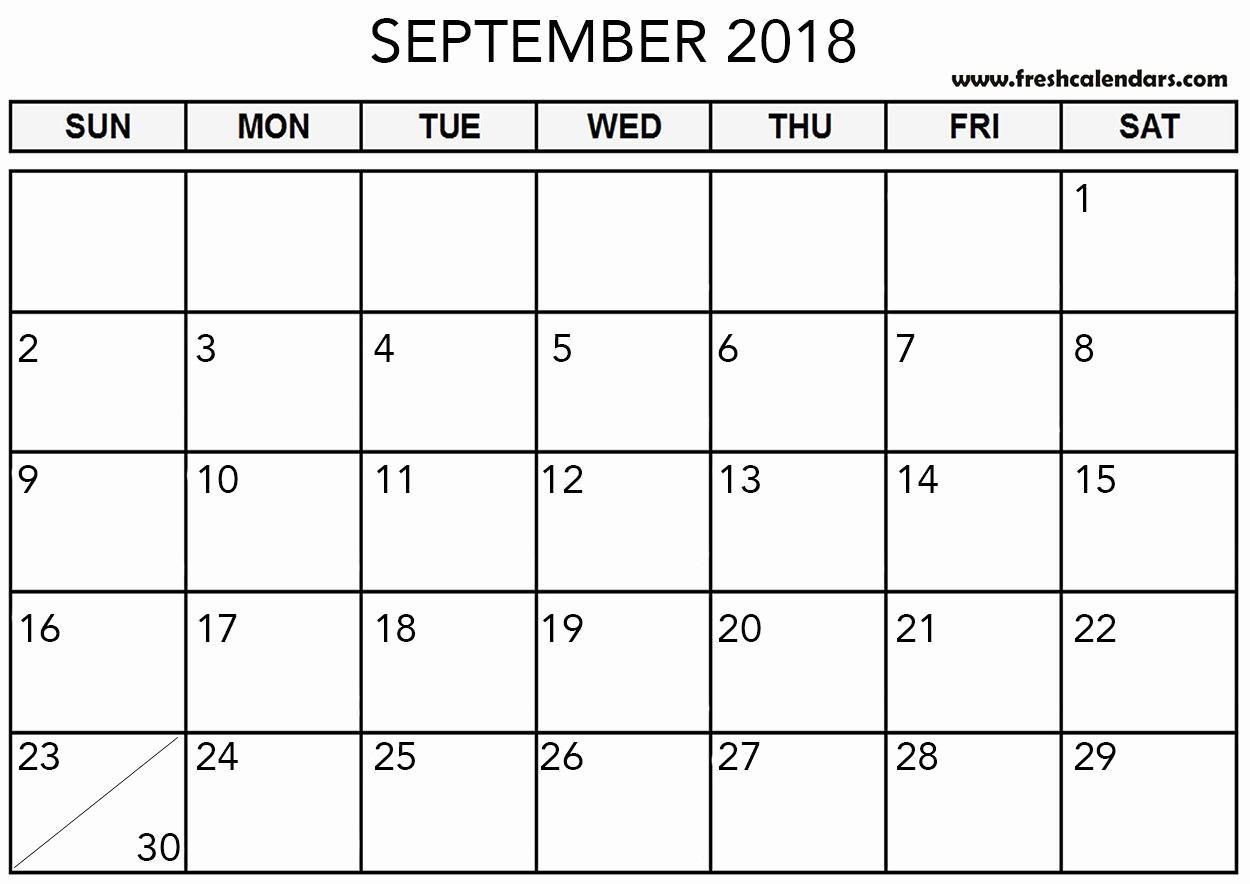 Show Me A Monthly Calendar Luxury Blank September 2018 Calendar Printable Templates