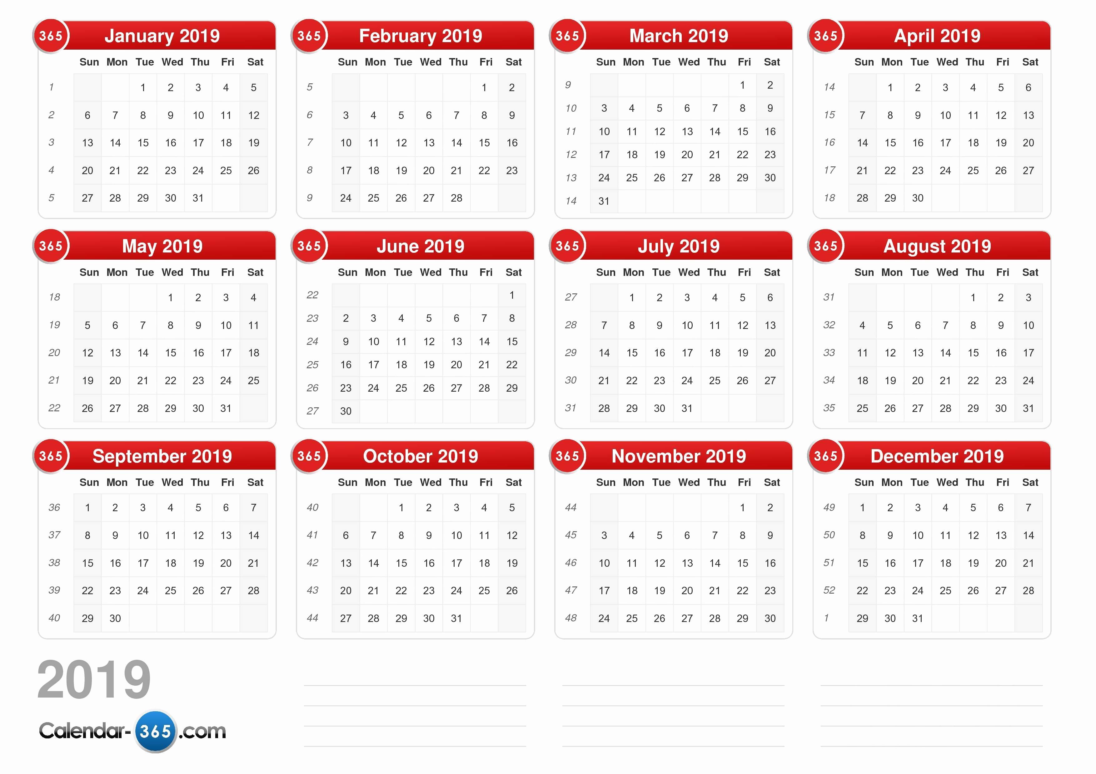 Show Me A Monthly Calendar Unique 2019 Calendar