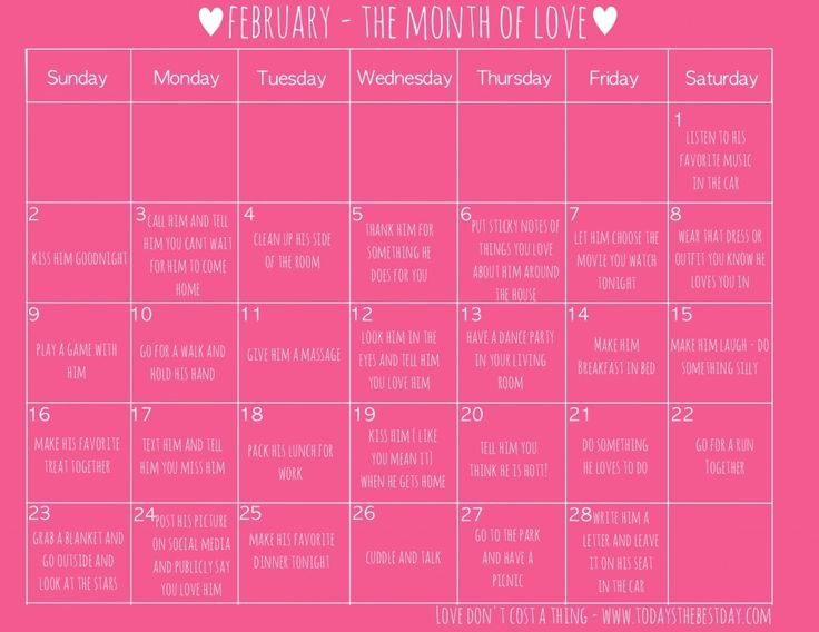 Show Me A Monthly Calendar Unique 28 Ways to Show Love to Your Husband for Free