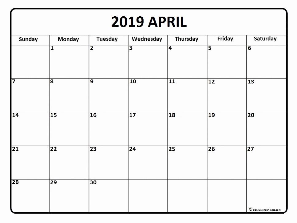 Show Me A Monthly Calendar Unique April 2019 Calendar