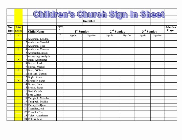 Sign In Sheet for Students Awesome Children S Church Sign In Sheet Template Google Search
