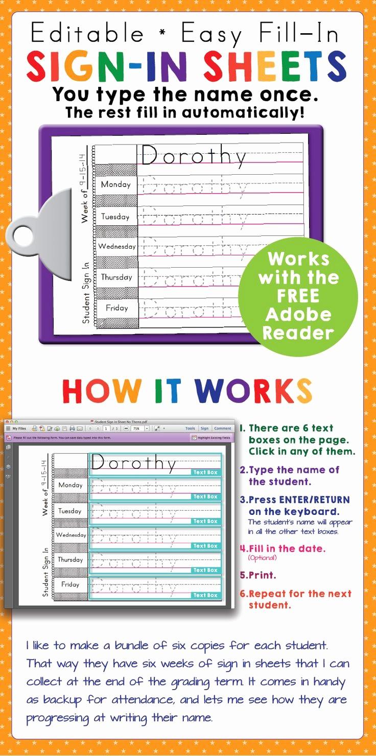 Sign In Sheet for Students Fresh Best 25 Preschool Sign In Ideas Ideas On Pinterest