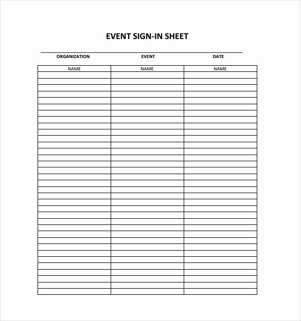 Sign In Sheet Template Free Fresh 18 Sign In Sheet Templates – Free Sample Example format