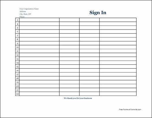 Sign In Sheet Template Free Luxury 7 Free Sign In Sheet Templates Word Excel Pdf formats