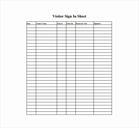 Sign In Sheet Template Free Unique 18 Sign In Sheet Templates – Free Sample Example format