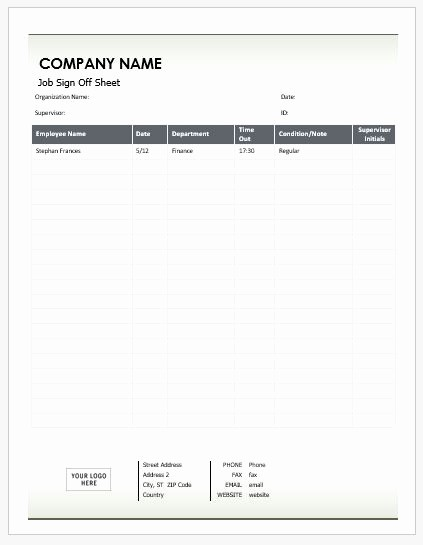 Sign Off Sheet Template Excel Inspirational Job Sign F Sheets for Ms Word