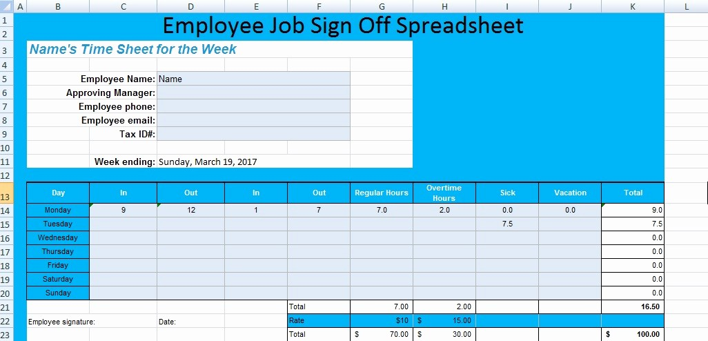 Sign Off Sheet Template Excel New Get Employee Job Sign F Spreadsheet Template Excel