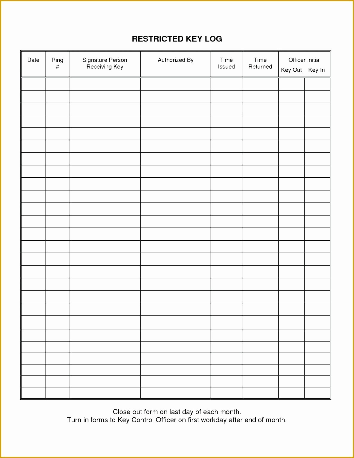 Sign Out Sheet Template Excel Beautiful Key Control form Template Ten top Risks Key Control form