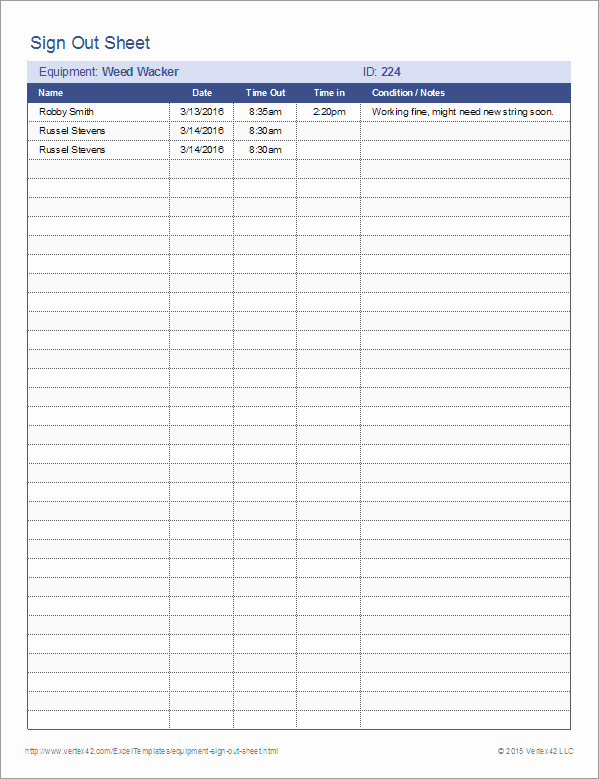 Sign Out Sheet Template Excel Best Of Equipment Sign Out Sheet