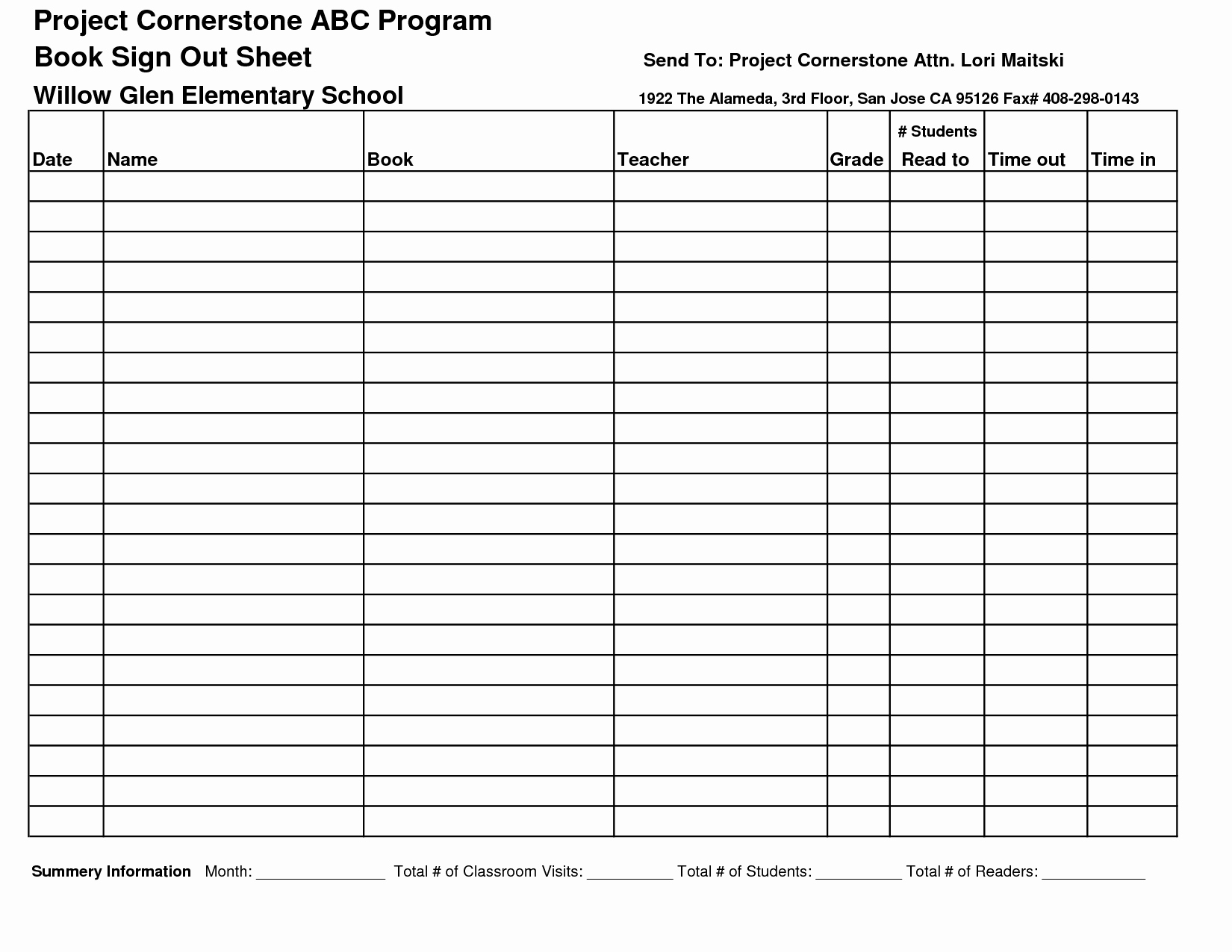 Sign Out Sheet Template Excel Inspirational 8 Best Of Sign Out Sheet Template Printable Free