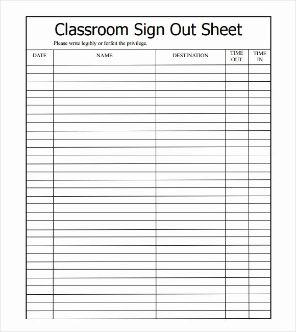 Sign Out Sheet Template Excel Lovely Sample Sign Out Sheet Template 8 Free Documents