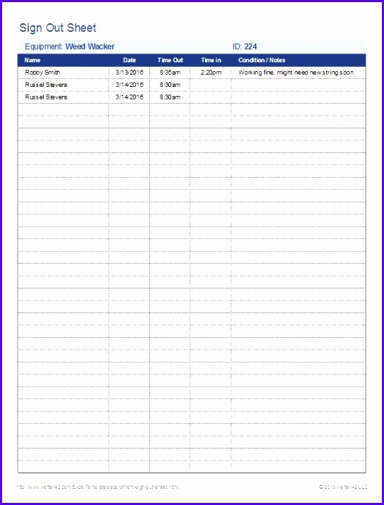 Sign Out Sheet Template Excel Luxury 8 Sign In Sign Out Sheet Template Excel Exceltemplates