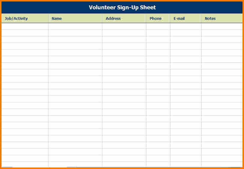 Sign Up Sheets for events Awesome event Sign In Sheet Template