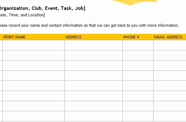 Sign Up Sheets for events Beautiful event Sign Up Sheet Template Haven