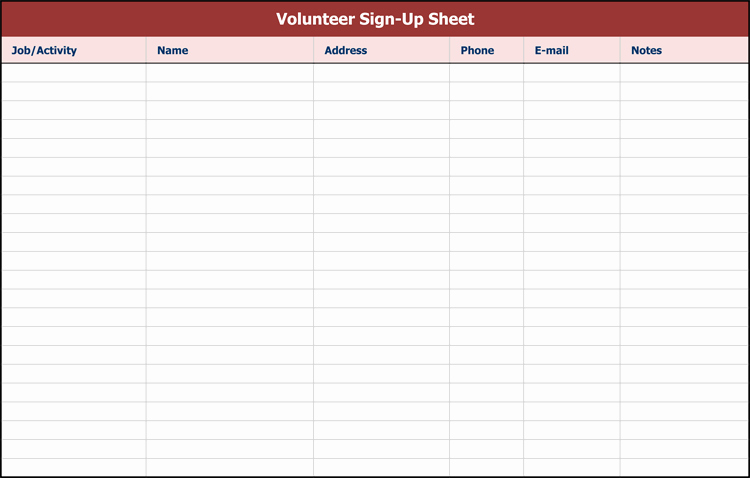 Sign Up Sheets for events Fresh 26 Free Sign Up Sheet Templates Excel & Word