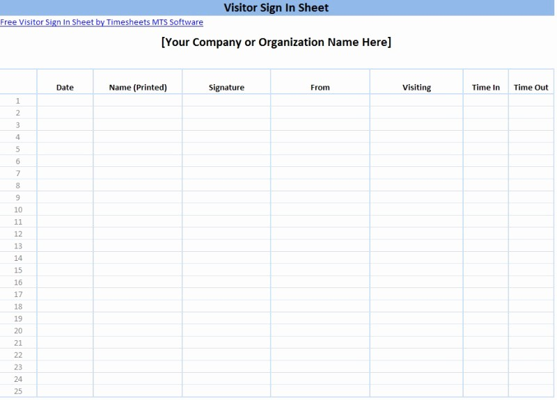 Signing In and Out Template Awesome Printable Sign In Sheet Templates