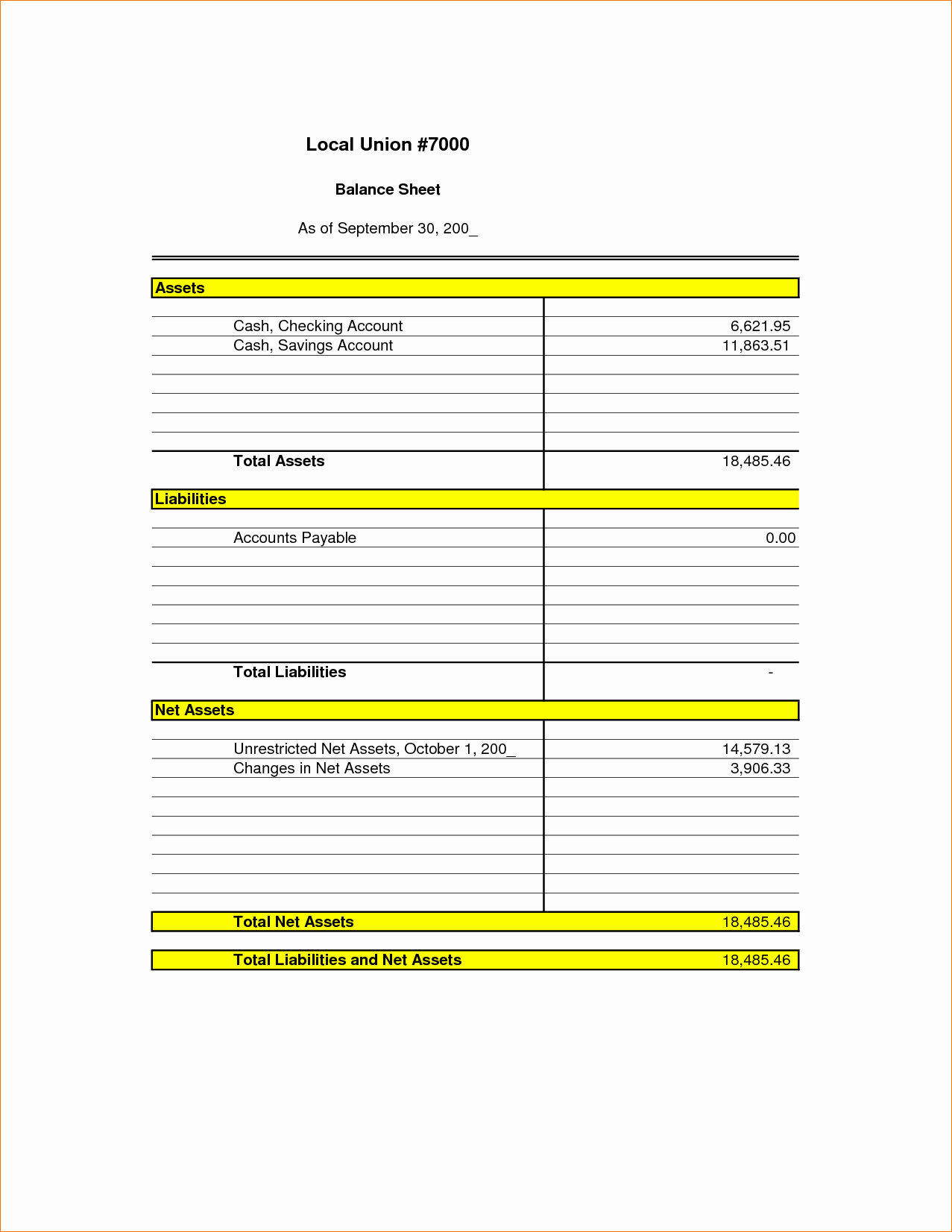 Simple Balance Sheet format Excel Awesome 3 Simple Balance Sheet