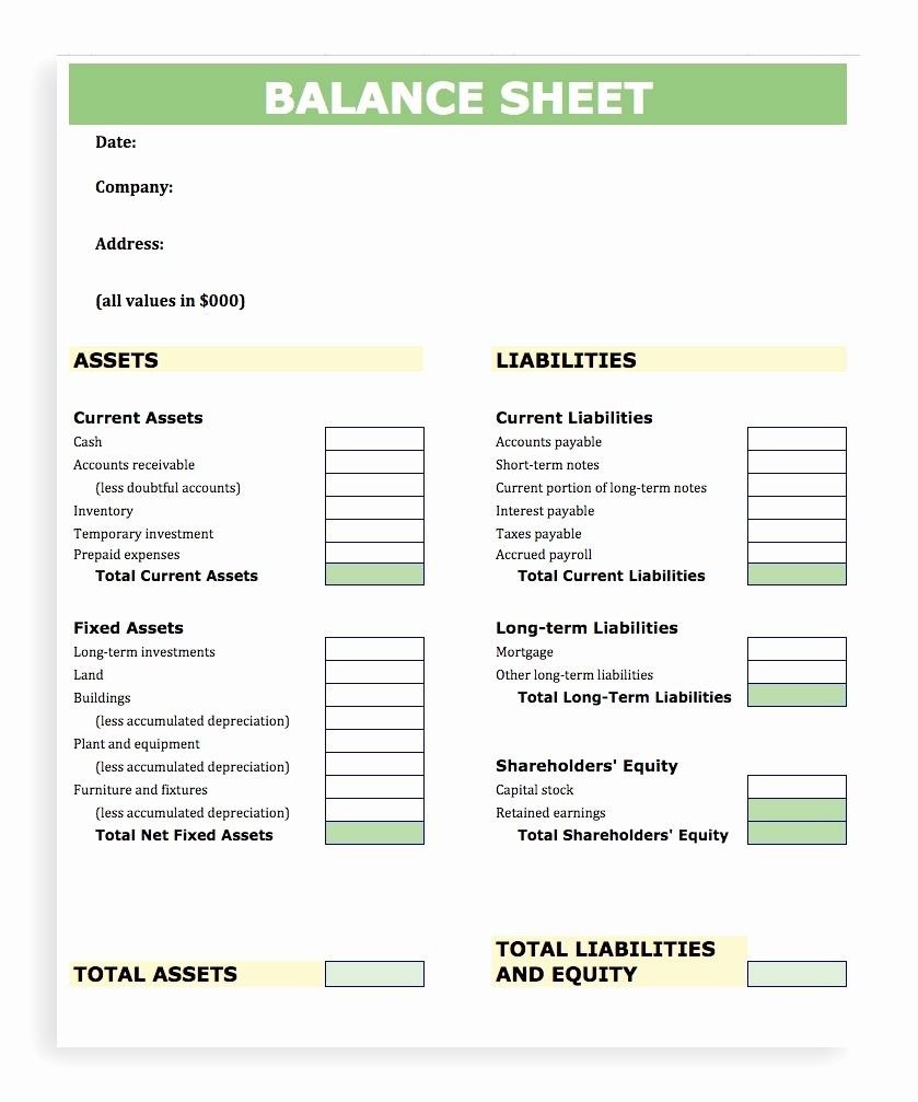 Simple Balance Sheet format Excel Awesome Balance Sheet Template