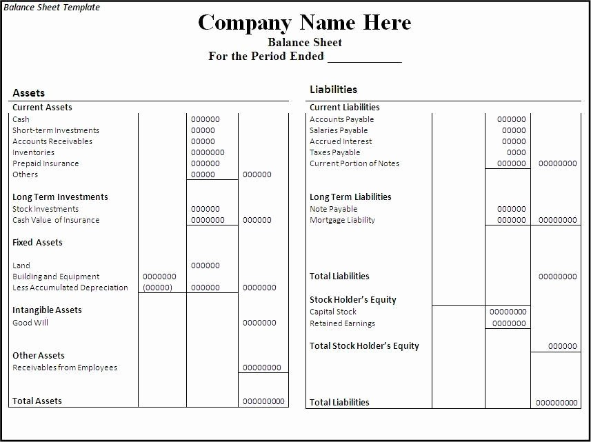 Simple Balance Sheet format Excel Beautiful 10 Balance Sheet Templates