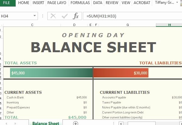 Simple Balance Sheet format Excel Beautiful Opening Day Balance Sheet for Excel