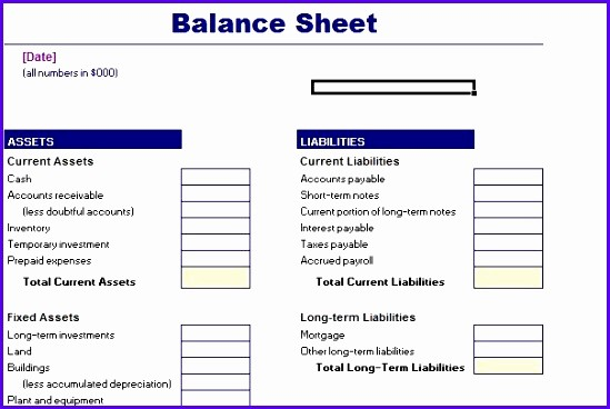 Simple Balance Sheet format Excel Best Of 10 Excel Balance Sheet Template Free Exceltemplates