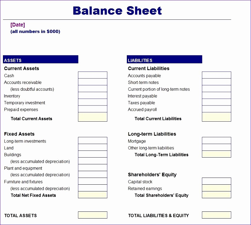Simple Balance Sheet format Excel Fresh 10 Balance Sheet Template Excel Free Exceltemplates