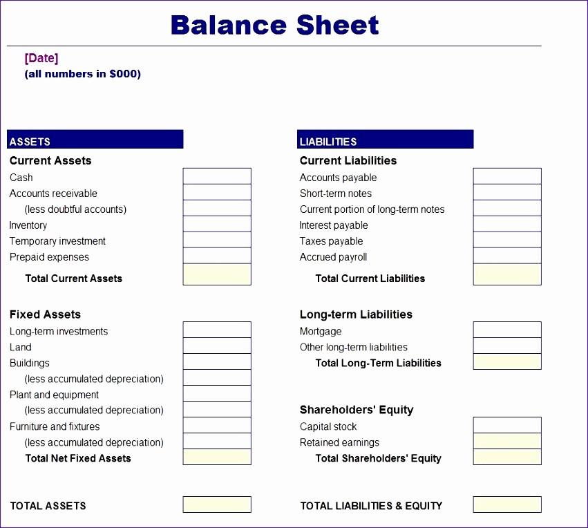 Simple Balance Sheet format Excel Fresh 10 Balance Sheet Template Excel Free Exceltemplates