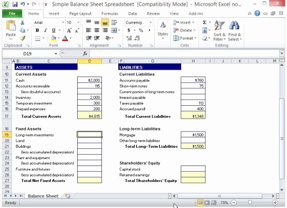 Simple Balance Sheet format Excel Inspirational Simple Balance Sheet Template for Excel