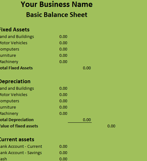 Simple Balance Sheet format Excel Lovely Basic Balance Sheet My Excel Templates