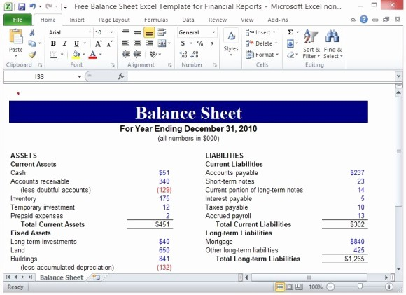 Simple Balance Sheet format Excel Lovely Free Balance Sheet Excel Template for Financial Reports