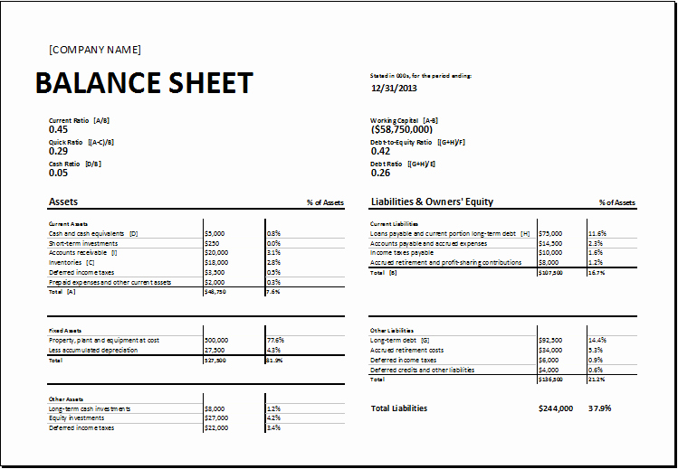 Simple Balance Sheet format Excel Luxury Calculating Ratios Balance Sheet Template for Excel