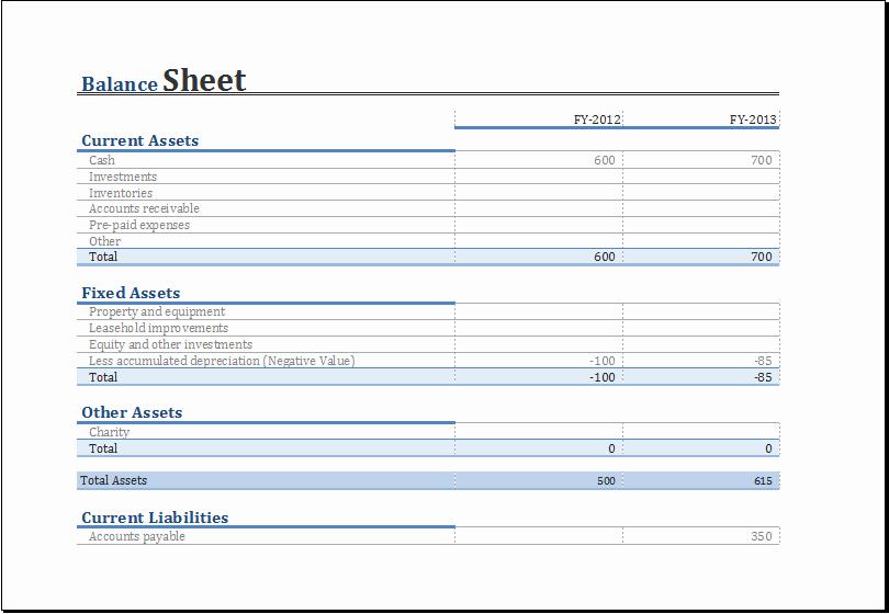 Simple Balance Sheet format Excel Unique Balance Sheet Template Excel Microsoft Spreadsheet