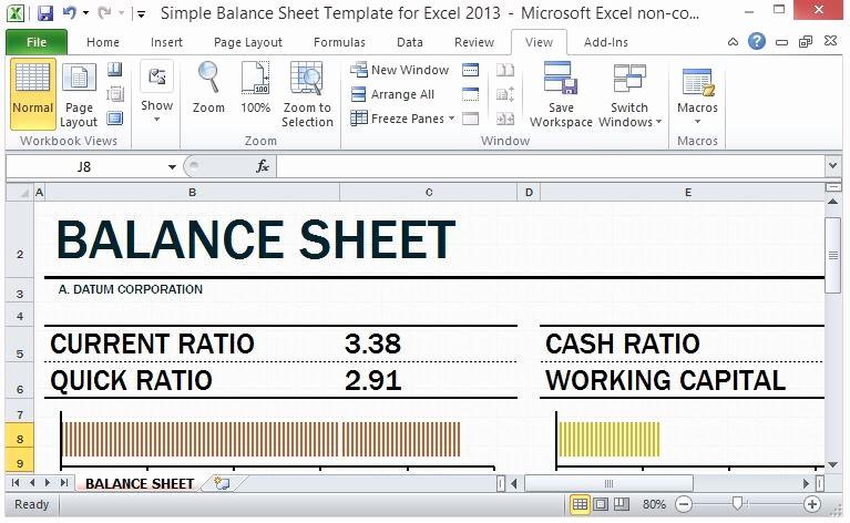 Simple Balance Sheet format Excel Unique Simple Balance Sheet Template for Excel 2013 with Working