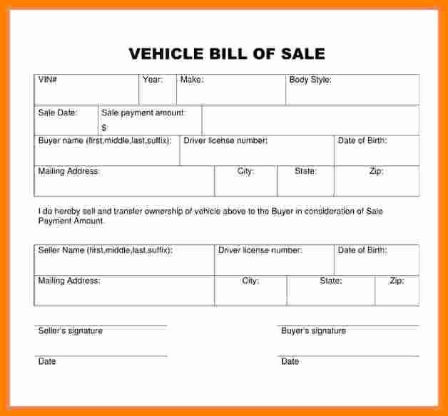 Simple Bill Of Sale Auto Beautiful 7 Printable Bill Of Sale for Used Car