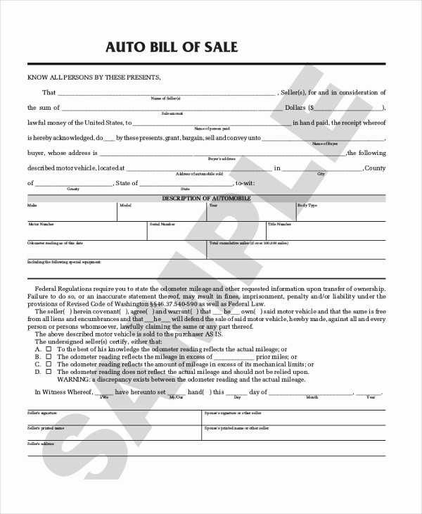 Simple Bill Of Sale Auto Fresh Sample Auto Bill Of Sale form 8 Free Documents In Pdf
