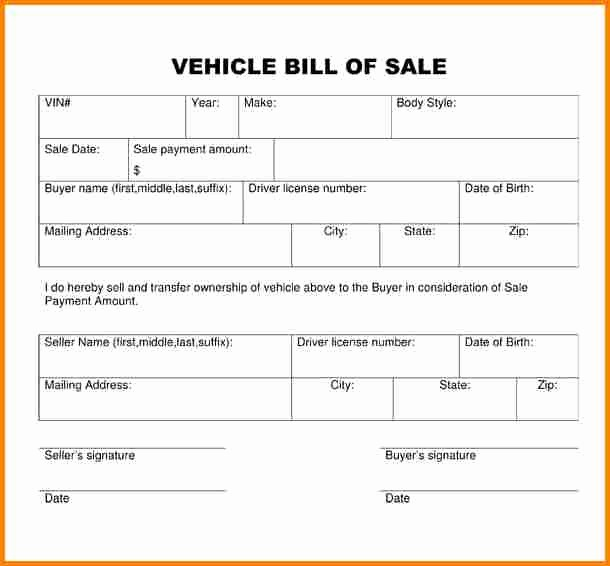 Simple Bill Of Sale Auto Unique 3 Simple Bill Of Sale for Car