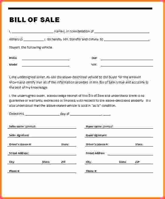 Simple Bill Of Sale Auto Unique Example Bill Sale for Car