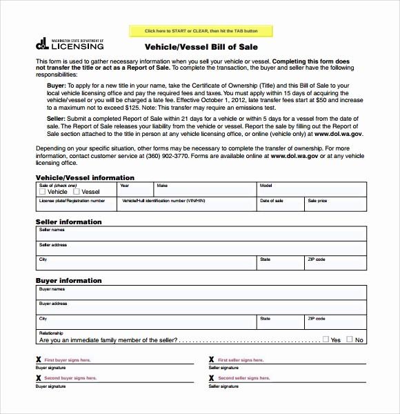 Simple Bill Of Sale Automobile Fresh 6 Sample Car Bill Of Sale forms