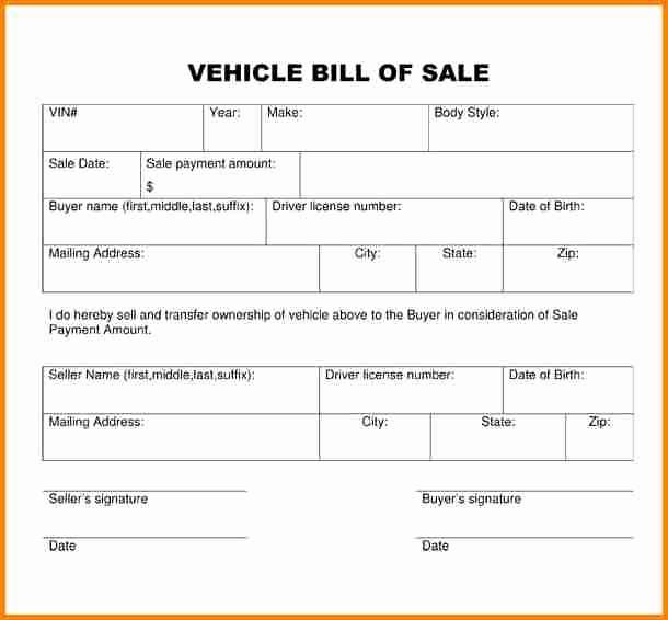 Simple Bill Of Sale Example Best Of 8 Free Printable Bill Of Sales