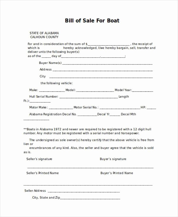 Simple Bill Of Sale forms New Bill Of Sale form In Word