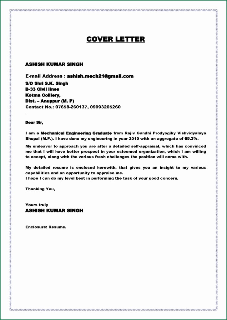 Simple Cover Page for Resume Awesome Basic Cover Letter Resume for Fresh Graduate Word Template