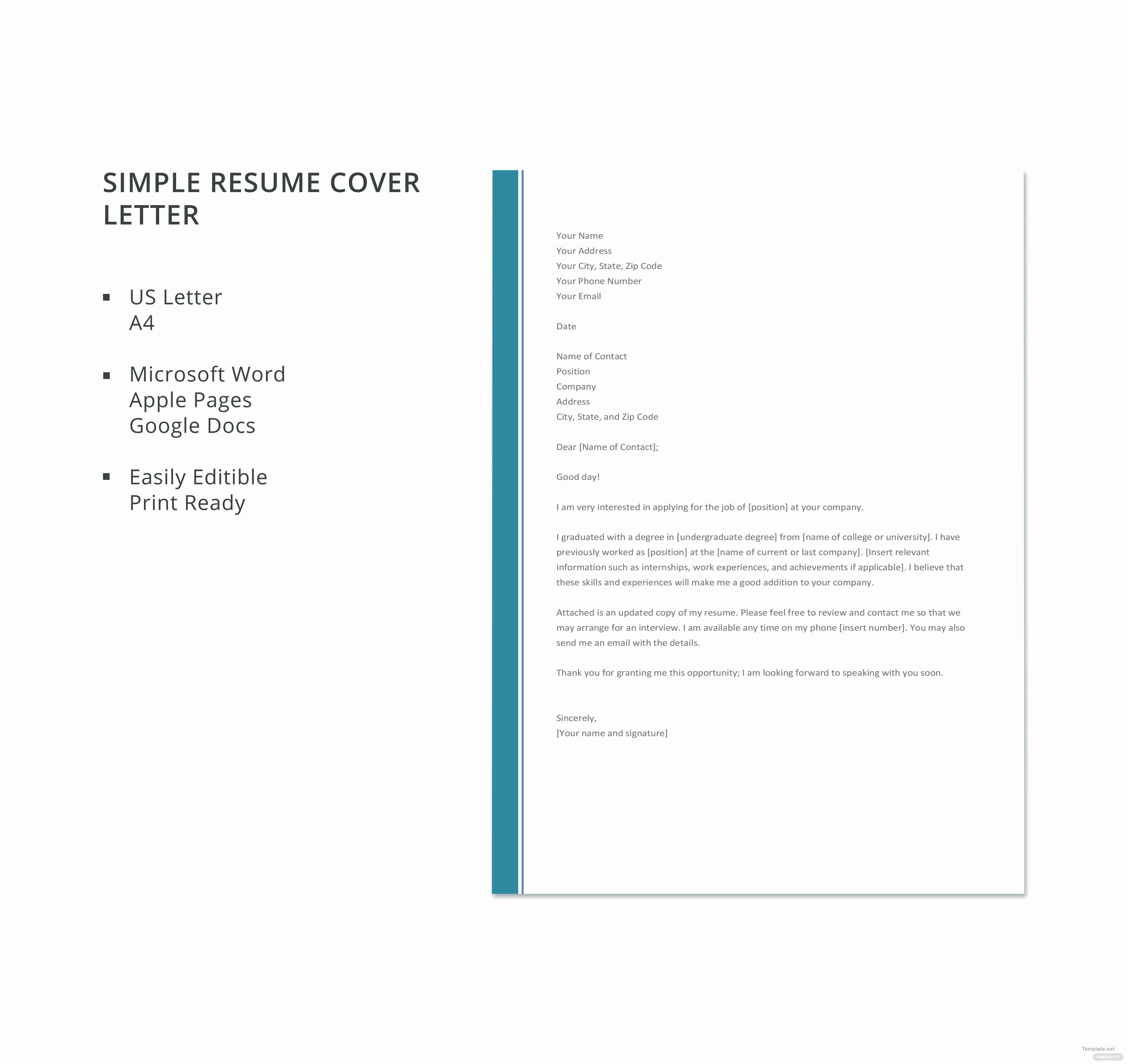 Simple Cover Page for Resume Luxury Free Simple Resume Cover Letter Template In Microsoft Word