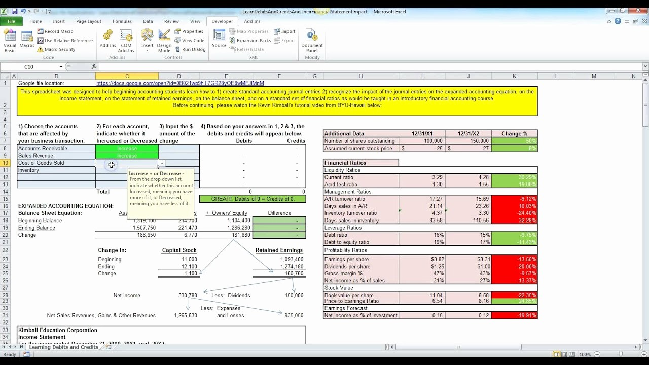 Simple Debit Credit Excel Spreadsheet Awesome Debits and Credits Made Easy with Excel