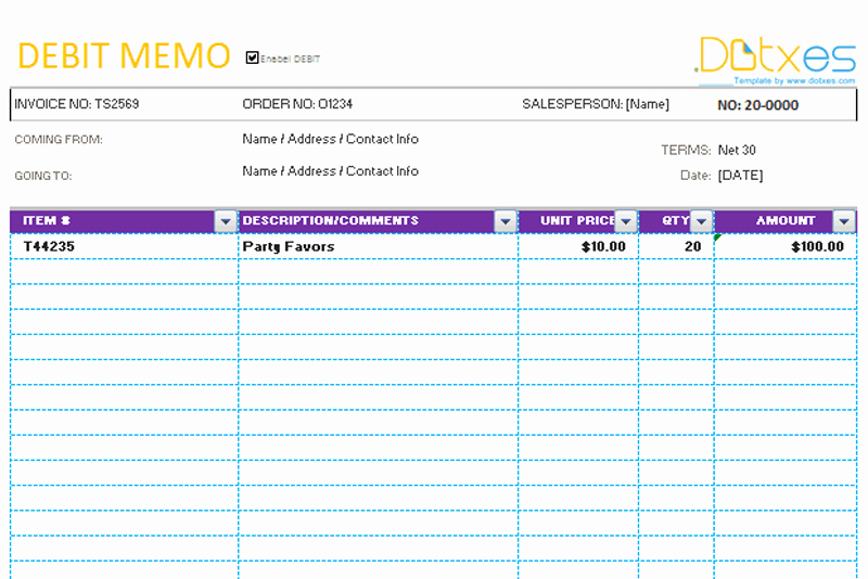 Simple Debit Credit Excel Spreadsheet Best Of Memo Template Credit & Debit Dotxes
