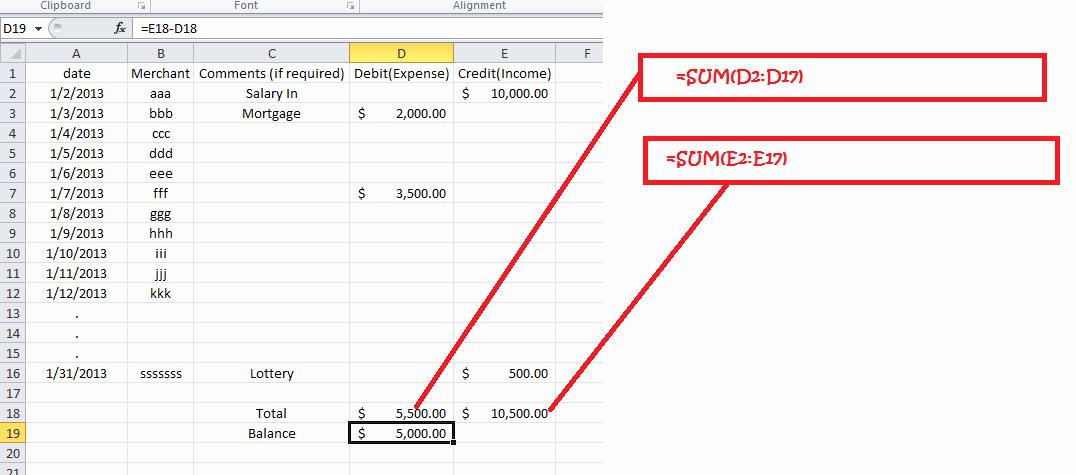 Simple Debit Credit Excel Spreadsheet Elegant Mac Excel 2011 if formatting for Simple Expense Tracker