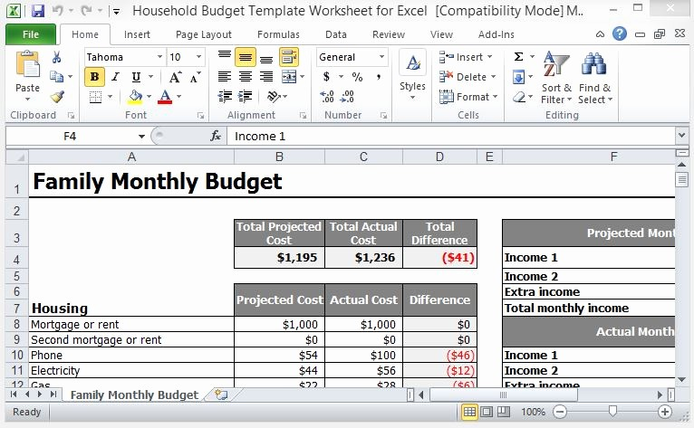 Simple Household Budget Template Free Awesome Household Bud Template Worksheet for Excel