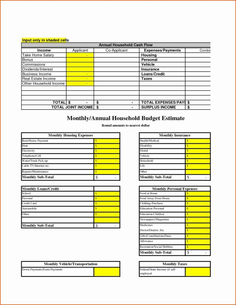 Simple Household Budget Template Free Lovely Household Spreadsheet Templates Spreadsheet Templates for