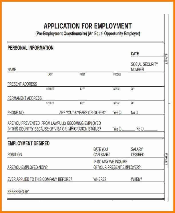 Simple Job Application Template Free Awesome 12 Standard Application for Employment