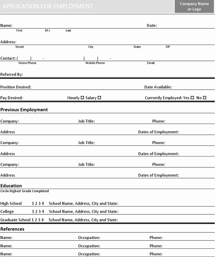 Simple Job Application Template Free Awesome Basic Job Application Template Free Download