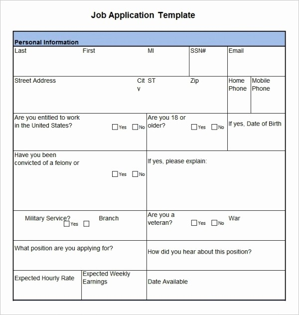 Simple Job Application Template Free Beautiful Job Application Template 19 Examples In Pdf Word